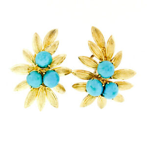 Vintage-18K-Italian-Yellow-Gold-Cabochon-Turquoise-Textured-Leaf-Branch-Earrings