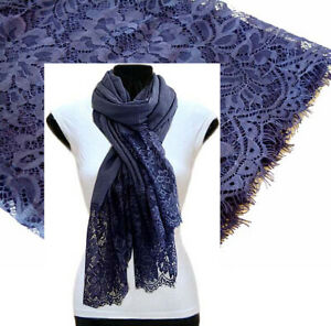 Navy Blue Large Scarf Lace Shawl Floral Wrap Cotton Scarf Plain Pashmina Hijab