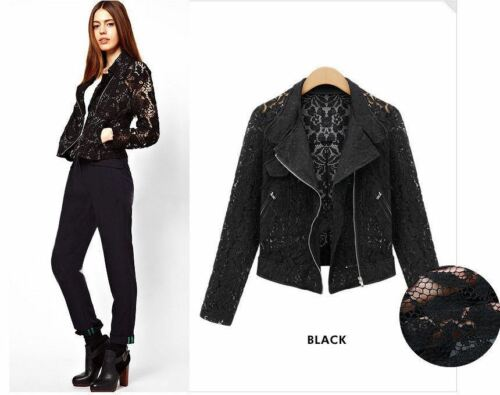 Women Ladies Lace Zipped Blazer Cardigan Biker Jacket Shirt Blouses