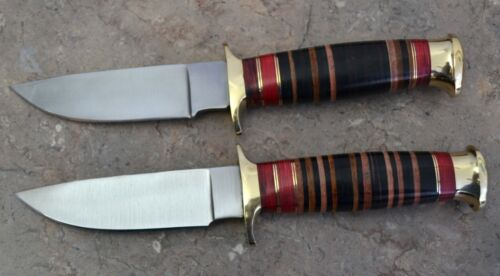 CUSTOM MADE SET OF 2 SURGICAL STEEL HUNTING KNIVES WITH LEATHER HANDLE LT SL