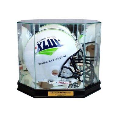 New Denver Broncos Football Helmet Display Case Black Sport Molding Uv Nfl Autographs-original