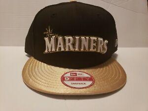 04b11178 New Era Custom Seattle Mariner's Snapback Hat Griffey Max 1 Gold ...