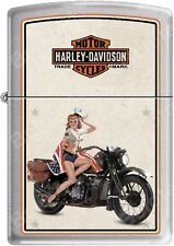 Zippo HD Harley Davidson 1940's WWII US Marines Pinup Satin Chrome Lighter NEW