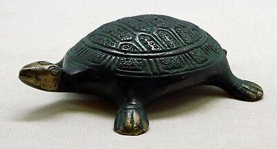 Figur Briefbeschwerer Schildkröte Antik-Look Messing 10,5 cm NEU