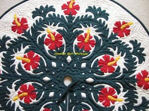 Hawaiian quilt christmas tree skirt 100% hand quilted appliquéd