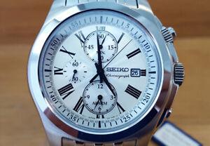 Mens Silver Classic Seiko Quartz Alarm Chrono SNAE29P1 Gents Bracelet Watch