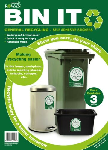 Recycling Stickers Wheelie Bin Self Adhesive Wheely Dustbin House Pack of 3