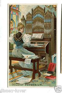 Victorian-Trade-Card-ESTEY-PHONORIUM-Organ-Brattleboro-VT-woman-playing-organ
