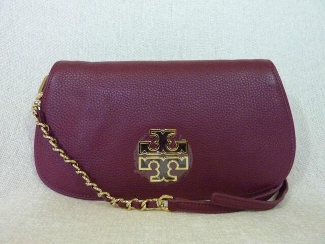 5e44c2d0da25 Tory Burch Britten Shiraz Red Leather Flap Clutch Crossbody Bag