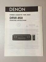 Denon Drw-850 Cassette Deck Owner's Manual Original -