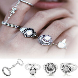 4PCS-Boho-Above-Knuckle-Ring-Set-Stack-Plain-Chain-Finger-Tip-Rings-Retro-Silver