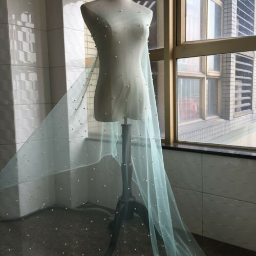 """62.5/"""" Wide Beaded Tulle Costume Dress DIY Trim Mint Pearls Bridal Lace Fabric 1Y"""