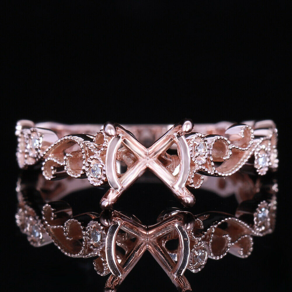 Solid 14K 585 pink gold Pave Natural Diamond Wedding Semi Mount Ring 7-8mm Round