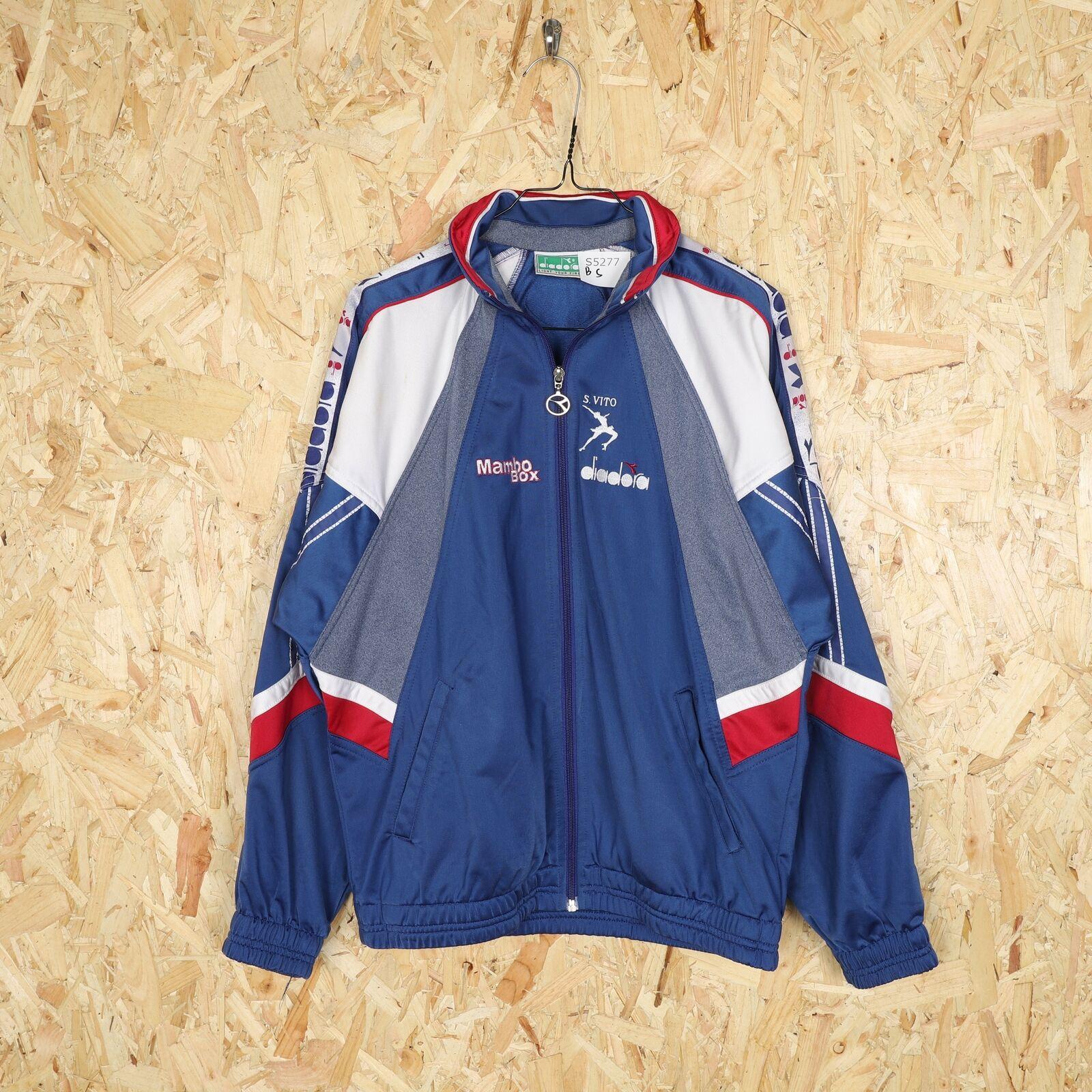 90s DIADORA Tape Logo Tracksuit Jacket Blue   Small   Grade B