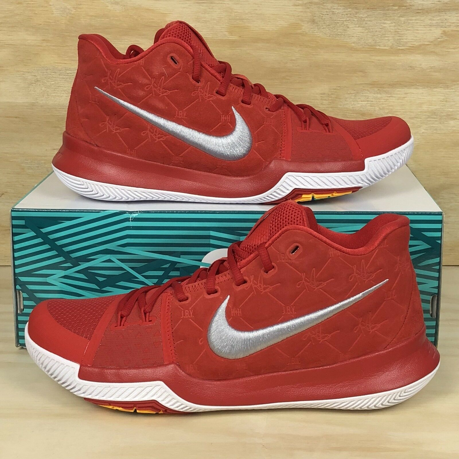 Cheap women's shoes women's shoes Nike Kyrie 3 University Red Grey White Suede Basketball Shoes Price reduction Comfortable