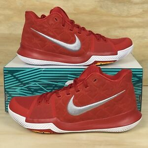 77e844d27a570b Nike Kyrie 3 University Red Grey White Suede Basketball Shoes ...