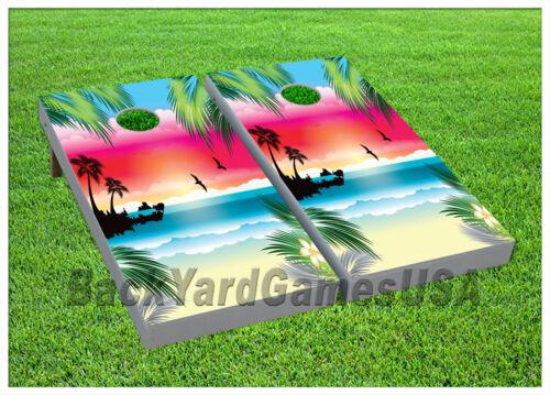 VINYL WRAP Beach Paradise Cornhole Boards DECALS  BagToss Game Stickers 531