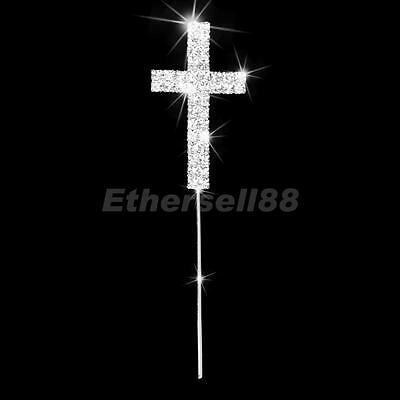 Crystal Diamante Religious Cross Cake Topper Baptism Christening Party Decor