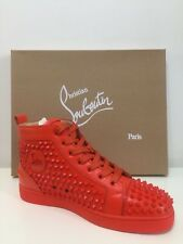 0f9c017d704 CHRISTIAN LOUBOUTIN TRAINERS SNEAKERS FLAT CALF SPIKES RED LEATHER SIZE 42  BNIB