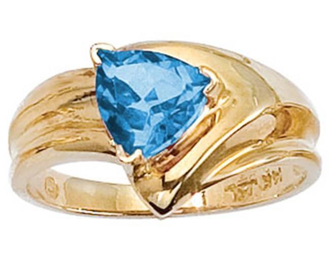 14K Geniune blueeTopaz 7mm Trillion Cut Yellow gold Ring