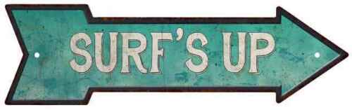 Surf/'s Up Rt Arrow Vintage Looking Beach House Metal Sign 5x17 205170001013