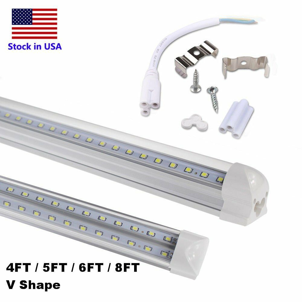 Integrated T8 LED Tube Light V Shaped 4ft 8ft T8 COOLER FREEZER Bulb Shop Light