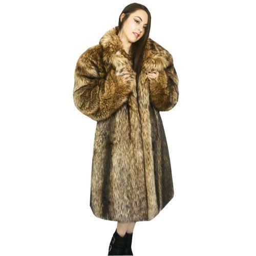 Women's Faux Fur Long Coat Plush Thicken Warm Furry Parka S-9XL Winter Outwear L