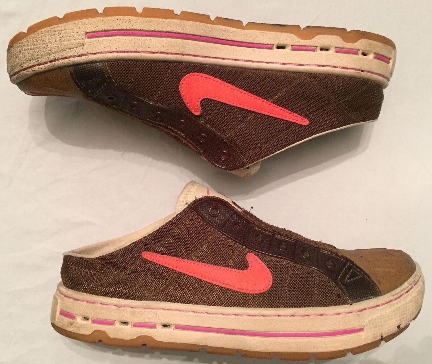 NIKE Shell Top Mule Sneaker Women's 7.5 Low Top Slip-On 315848-381 Brown/Orange Casual wild