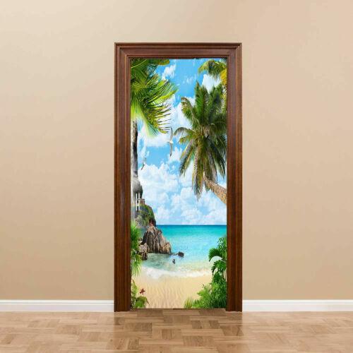3D Door Murals Stickers Beach Scenery Self-Adhesive Wallpaper Home Decor