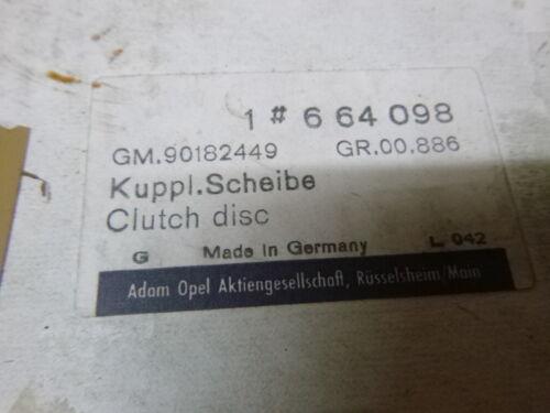 Opel Rekord B 1.5 1.7 1.9 Kupplung Kupplungsscheibe 664098 Oldtimer 90182449 200