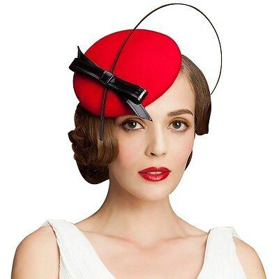 A144 Ladies Leather Bow Ostrich Quills Felt Wool Fascinator Cocktail Derby Hat