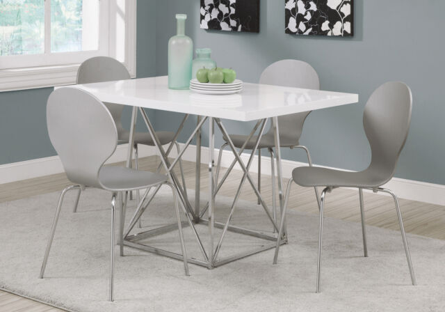 Monarch Specialities Dining Table 36 X 48 White Glossy Chrome Metal