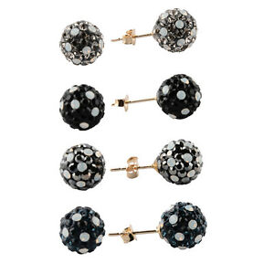 61875dc4bce0e Details about 14K Yellow Gold Made with Swarovski Crystal White Opal Disco  Ball Studs Earrings