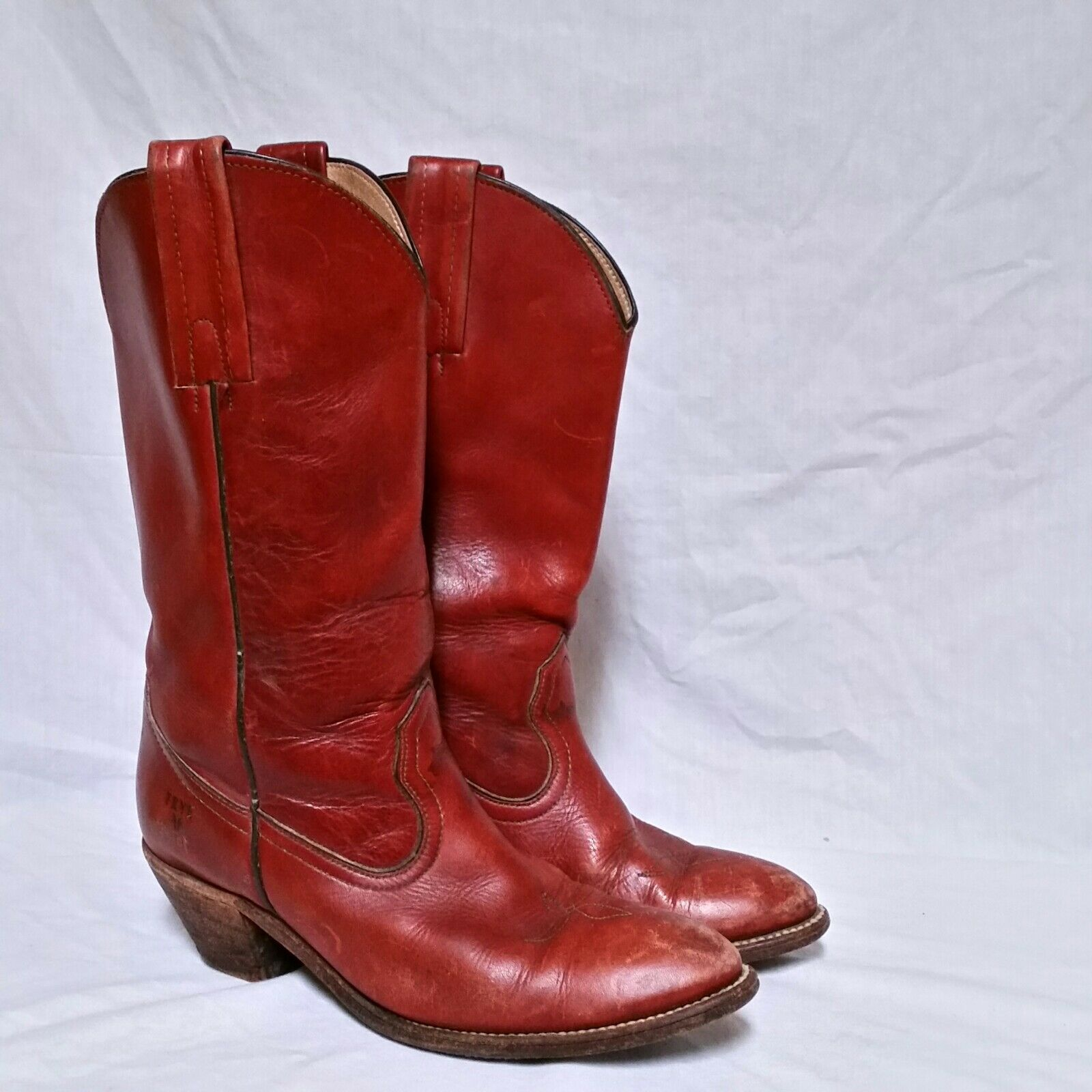VTG Frye Melissa Boots Classic Leather Brown Western Campus Pull On Womens 8.5 B