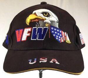 93b7e699460 VFW Eagle Head Baseball Hat USA Flag Black Post 778 Swanton VT ...