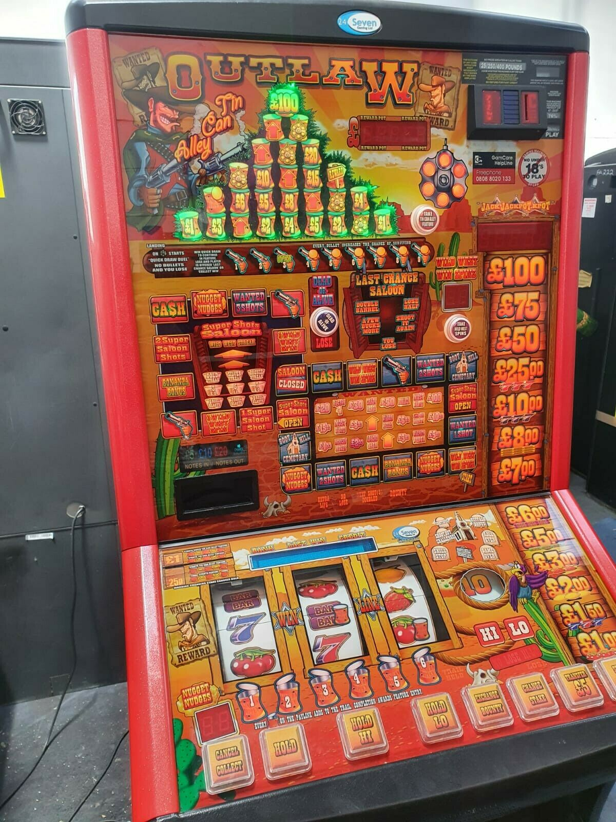 FRUIT MACHINE - OUTLAW TIN CAN ALLEY CLUB - JACKPOT - NEW READY