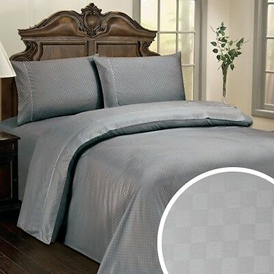Hotel Life Deluxe 300 Thread Count 100% Cotton Checkered Sateen Sheet Set