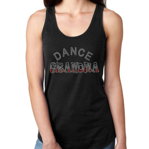 Womens T-Shirt Rhinestone Wear Bling Black Fitted Tee Dance Grandma Crystal Red