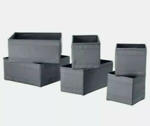 IKEA-SKUBB-Box-storage-gray-6-pcs-organizer-cloth-boxes-decor-brand-new