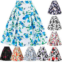 Womens Floral Flared High Waist Swing Party Pleated Midi Skater A-Line Skirts