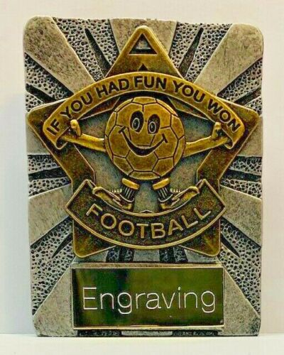 FREE Engraving /& P/&P Football Mini Soccer in silver and gold