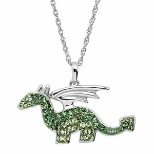 Dragon-Pendant-with-Green-Swarovski-Crystals-in-Sterling-Silver