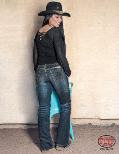 Cowgirl Tuff Women/'s Rodeo Gold Buckin/' Horse Boot Cut Jeans JRODGL