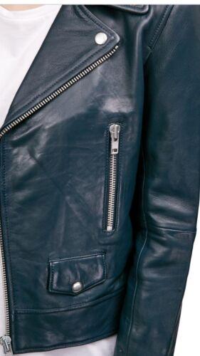 Nicholas Size 4 Zip Leather Jacket 750 Biker Navy AxCqwSC