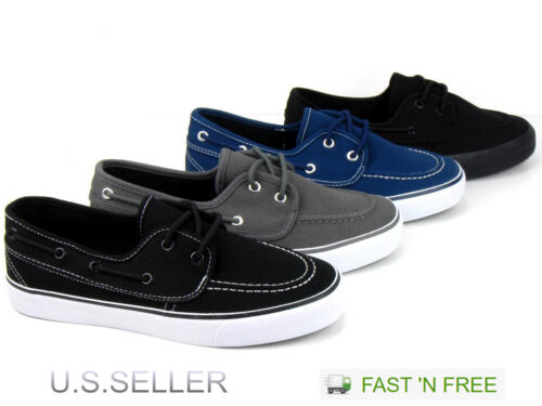 Men/'s Canvas Vulcanized Boat Casual Sneakers Shoes Tennis Lace Up Athletic Skate