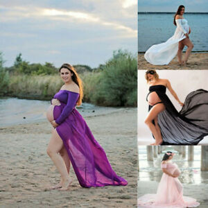 Pregnant-Women-Front-Split-Long-Maxi-Maternity-Dress-Gown-Photo-Photography-Prop