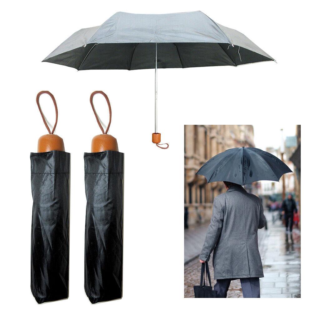 2 Folding Umbrella Mini Portable Compact Emergency Weather Travel Case Black 37