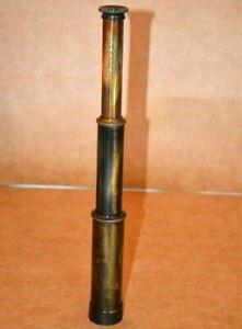 "Vintage brass 12/"" monocular telescope nautical spyglass scope w// leather box"
