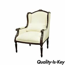 Calico Corners French Louis XVI Style Carved Wood Upholstered Bergere Arm Chair
