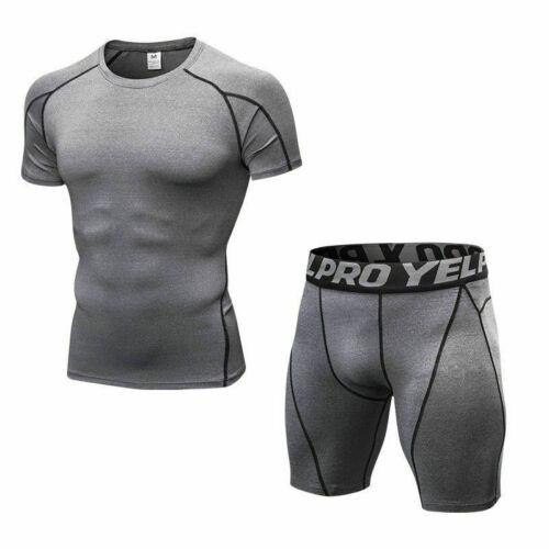 Men/'s Athletic Gym Compression Shirt Shorts Set Running Training Bottoms Wicking